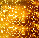 Christmas snowy background with gold stars Royalty Free Stock Image