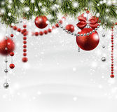 Christmas snowy background with spruce branches. Stock Photos