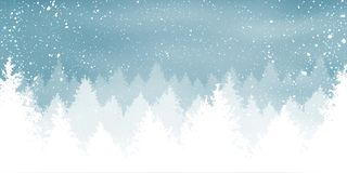 Christmas snowy background with winter landscape with snowflakes, light, stars. Xmas and New Year card. Vector Illustration.  royalty free illustration
