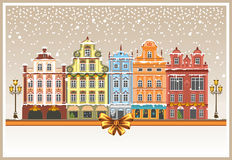 Christmas in a snowy city Royalty Free Stock Photography