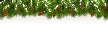 Christmas snowy decorations on white background. Christmas theme with holiday decorations, decorative spruce branches with pine cones and snow on a white Stock Photos