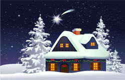 Christmas snowy house. Christmas background with decorated house Royalty Free Stock Images
