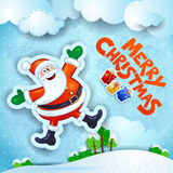 Christmas snowy landscape with happy Santa and text Stock Photo