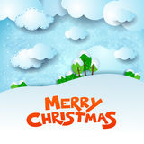 Christmas snowy landscape with text and copy space Stock Photos