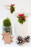 Christmas Snowy Mason Jars with Rose Hips and Moss Royalty Free Stock Image