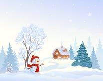 Christmas snowy morning. Vector cartoon drawing of a Christmas snowy morning landscape and a cute greeting snowman vector illustration