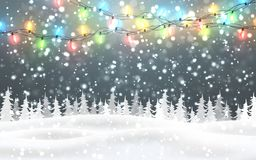 Free Christmas, Snowy Night Woodland Landscape With Falling Snow, Firs, Light Garland, Snowflakes For Winter And New Year Holidays. Royalty Free Stock Photos - 154977158