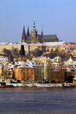 Christmas Snowy Prague gothic Castle Royalty Free Stock Images