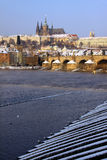 Christmas Snowy Prague gothic Castle Stock Photography