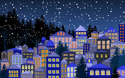 Christmas snowy town Royalty Free Stock Images