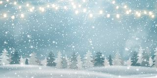 Christmas, Snowy Woodland landscape. Winter background. Holiday winter landscape for Merry Christmas with firs. Coniferous forest, light garlands, snow royalty free illustration