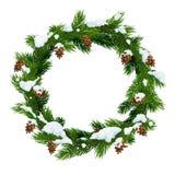 Christmas snowy wreath frame, vector royalty free illustration
