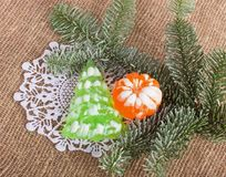 Christmas  soap-mandarin and Christmas tree Stock Photos
