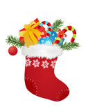 Christmas sock. Christmas red sock with gifts and candies -  vector illustration Royalty Free Stock Photography