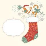 Christmas sock. And frame for text, greeting christmas card Stock Image
