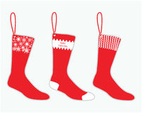Christmas sock. Red sock with christmas design Royalty Free Stock Photo