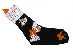 Christmas sock in black colour. Royalty Free Stock Image