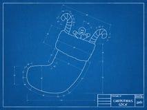 Christmas Sock Blueprint Stock Photography