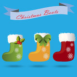 Christmas sock or boot. Very high quality original trendy vector set christmas sock or boot with fur, christmas bow and holly Royalty Free Stock Photos