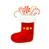 Christmas sock with candy cane Stock Photos