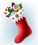 Christmas sock with candy Stock Image