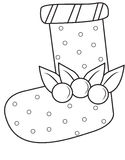Christmas sock coloring page. Useful as coloring book for kids Stock Photos