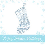 Christmas Sock Decorated. Vector line art Royalty Free Stock Photos