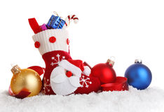 Christmas sock with decoration Stock Images