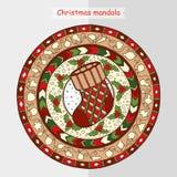 Christmas sock on ethnic mandala. New Year theme. Doodle Christmas sock on ethnic circle ornament. Hand drawn art winter mandala. Black and white ethnic Stock Image