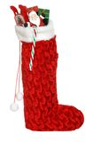Christmas Sock Filled With Toys And Candy Stock Photos