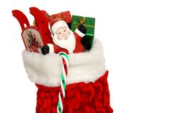 Christmas Sock Filled With Toys And Presents Royalty Free Stock Photos