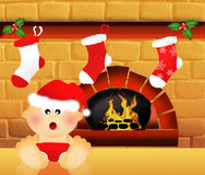 Christmas sock on fireplace Royalty Free Stock Photography