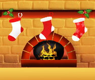 Christmas sock on fireplace Stock Image