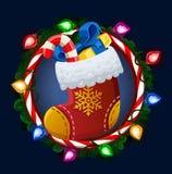 Christmas sock in frame Stock Photos