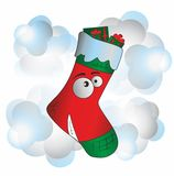 Christmas sock. Funny christmas sock with eyes Stock Images