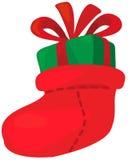 Christmas sock with gift Stock Image
