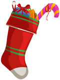 Christmas sock with gift. Illustration of isolated christmas sock with gift on white Royalty Free Stock Photography
