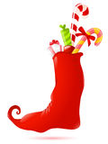 Christmas sock with gifts. Vector Christmas background with red sock,gifts and candies Stock Photography