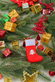 Christmas sock with gifts Royalty Free Stock Photos
