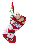 Christmas sock and gifts stock photos