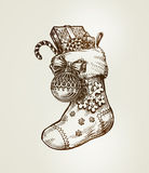 Christmas sock with gifts. Sketch vector illustration Stock Photography