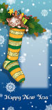 Christmas sock with gifts and toys Royalty Free Stock Photos