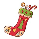 Christmas sock with gifts. Traditional festive element for christmas decoration. royalty free illustration