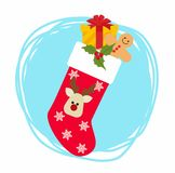 Christmas sock with gifts.  Vector Illustration. Vector Illustration Christmas sock with gifts Royalty Free Stock Photo