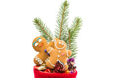 Christmas sock with Gingerbread man Stock Images