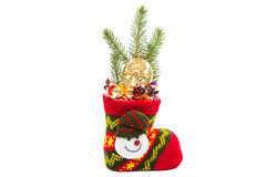 Christmas sock with Gingerbread man Royalty Free Stock Images
