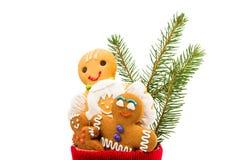 Christmas sock with Gingerbread man Stock Photos