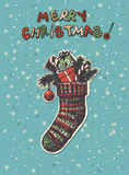 Christmas sock. Hand drawn Christmas sock with gifts, fir branches and candy canes Stock Images