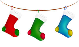 Christmas sock hang on twine, line, rope, icon , symbol, design. Winter vector illustration isolated on white background. Royalty Free Stock Images