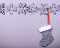 Christmas sock hanging on clean background Royalty Free Stock Photos